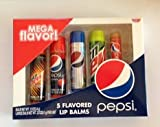 Pepsi Brands Flavored Lip Balm Fat Tubes 5 Pack Gift Set