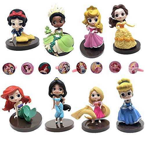 Fam Le Fun 8 pcs Princess Figures and 8 Jewel Cupcake Rings Set Cake Toppers 1-3 inch PVC Toys