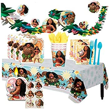 Disney Moana Deluxe MEGA Birthday Party Supplies Pack And Decorations For 16 Includes Plates Napkins Cups Cutlery A Table Cover Candle
