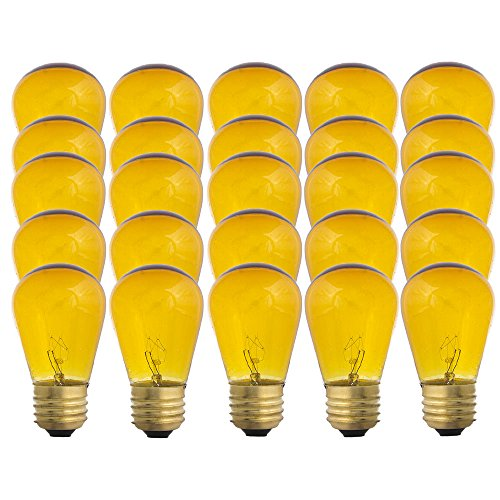 Yellow S14-11w Bulb - Patio string light replacement Bulb - 25 Bulbs ()