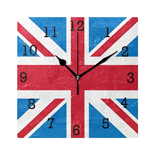 Anmarco Union Jack British Flag Square Wall Clock, Non Ticking Digital Quiet Sweep Decorative Clocks for Kitchen Bedroom Living Room