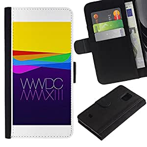 LASTONE PHONE CASE / Lujo Billetera de Cuero Caso del tirón Titular de la tarjeta Flip Carcasa Funda para Samsung Galaxy S5 Mini, SM-G800, NOT S5 REGULAR! / Apple Purple Yellow Waves Technology