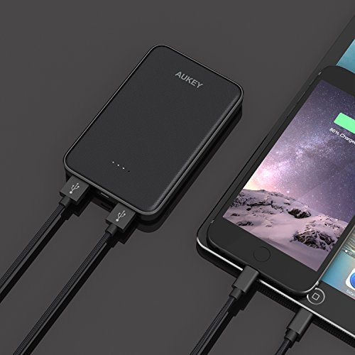 AUKEY 10000mAh Power Bank, Slimline Design & Dual USB Outputs for iPhone, Samsung, Google and More