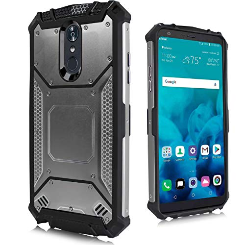 for LG Stylo 4, LG Stylus 4, LG Q Stylo 4 (Q710) 2018 Release (Metro PCS, T-Mobile, Cricket etc) Carbon Fiber Metal Hybrid Defender Jacket Shockproof TPU Tough Armor Case ()