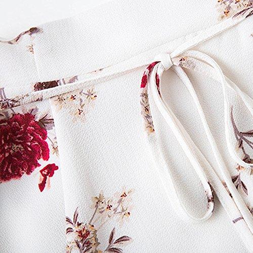 de V Ete Vintage Imprim Floral Tunique Sundress Sexy Soiree Blanc Robe Mini Robe Chic Cocktail Prom Col Boho Robe Femme LEvifun de Robe Party Robe Plage Dress Chemise YqZazxU