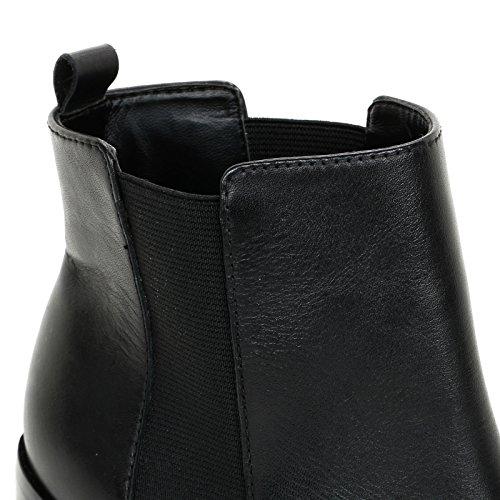 Alesya by Scarpe&Scarpe - Stiefeletten mit Hohem, Breitem Absatz und Doppeltem Gummizug, Leder, mit Absätzen 8 cm - 38,0, Schwarz
