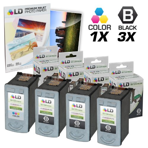 LD Remanufactured Ink Cartridge Replacement for Canon PG30 & CL31 (3 Pigment Black, 1 Color, 4-Pack)