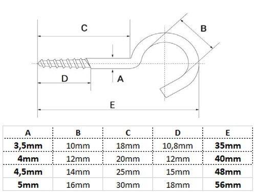 50 St/ück Edelstahl A2 AISI 304 Schraubhaken HEAVYTOOL Cup Hakenschraube mit Holzgewinde 4mm x 40mm