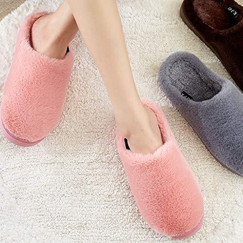 avec coton intérieur en Pantoufles pâle chaud d'hiver épais doux et rose femmes fond pour antidérapant px0qa5
