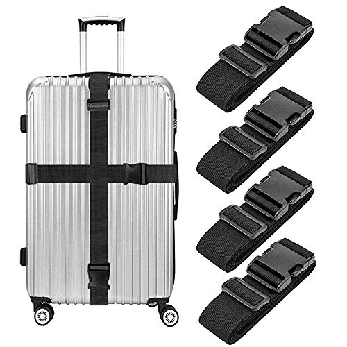 Lcgs 4 Pack Luggage Straps, Heavy Duty Non-Slip Adjustable Travel Accessories Suitcase Baggage Belts Bag Bungee ()