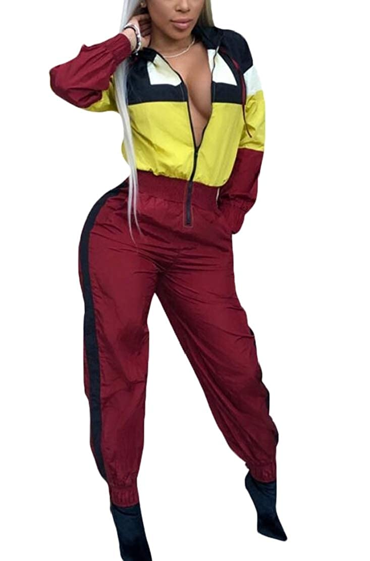 UUYUK Women Color Block Jogger Hoodie Zip-Up Fashion Romper Jumpsuits