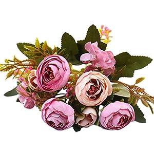 1 Pack Artificial Peony Wedding Flower Bush Bouquet - Vintage Peony Silk Flowers for Home Kitchen Wreath Wedding Centerpiece Wedding Home Decor 60