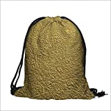 printing Drawstring Gift Bag An Image of Gold Paper for Travel,Family,Dorm 12''W x 17.5''H