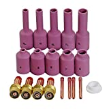 TIG Long Gas Lens Collet Long Alumina Cup Kit Fit WP 17 18 26 TIG Welding Torch Accessories Consumables 19pcs