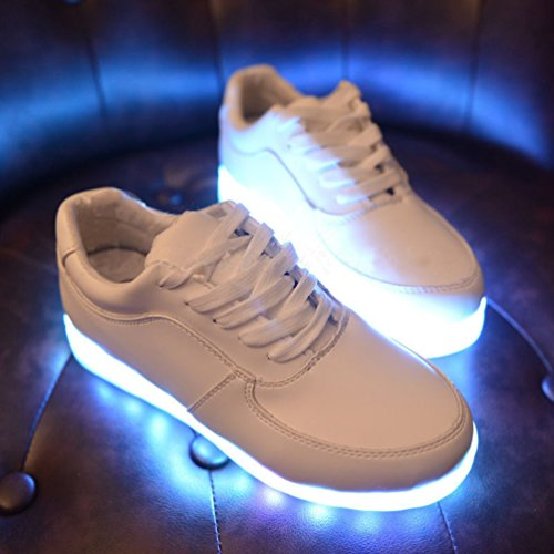 Eshion Unisex LED Light Lace Up Luminous Shoes Sportswear Sneaker Casual Shoes USB Charging White WkbDBr