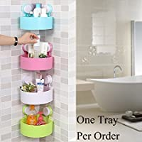 BESTOW® Plastic Inter Design Bathroom Kitchen Organize Shelf Rack Triangle Shower Corner Caddy Basket with Wall Mounted Suction Cup. Random Color