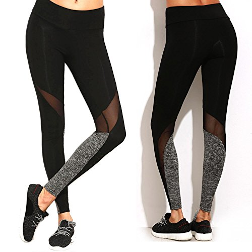 51ad90d1c8a47 Fittoo Women Mesh Panels Stretchy Workout Leggings Sexy High Waist Hot Yoga  Pants Slim Black Quick