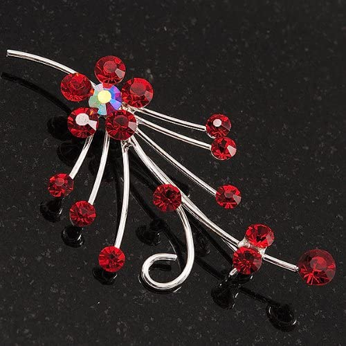 Avalaya Silver Tone Red Diamante Floral Brooch
