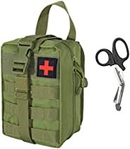 IronSeals Tactical Molle Quick Rip-Away High Capacity EMT Pouch Compact Medical First Aid Pouch with EMT Shear