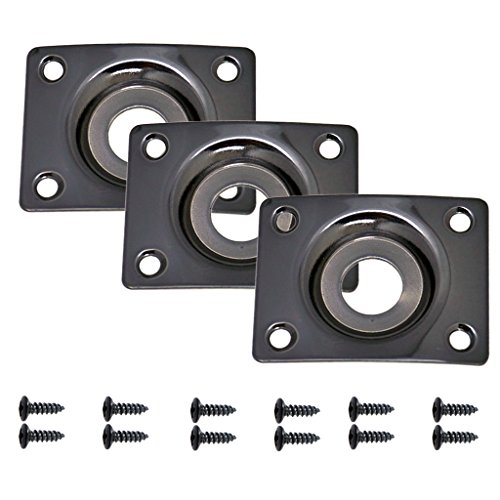 - Fityle Input Output Jack Plate for Electric Guitar Telecaster LP SG Black Rectangle