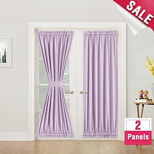 Room Darkening French Door Panels 72 Inch Length French Door Curtains Thermal Insulated Door Panel with 2 Bonus Tie Backs, 1 Pair Light (One Panel Door)