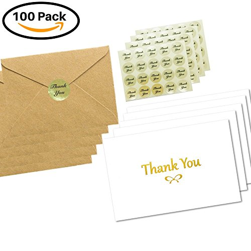 100 Elegant Thank You Cards with Gold Foil Embossed Designs | 4 x 6 inches, Bulk Note Cards with Envelopes and Gold Stickers | Perfect for Wedding, Bridal Shower, Baby Shower, and Business (White)