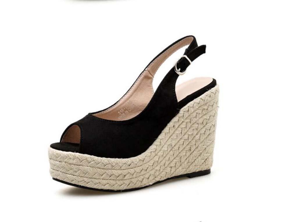 8a4bad9cf996 Onfly Women Pump 11cm Wedge Heel Peep Toe Sandals Roma Shoes Sweet Pure  Color Slingbacks Casual Shoes Hollow Belt Buckle Hemp Rope Weaving Holiday  Beach ...