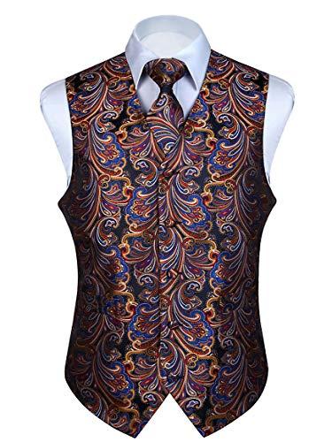 HISDERN Men's Paisley Floral Jacquard Waistcoat & Necktie and Pocket Square Vest Suit Set Orange/Navy Blue