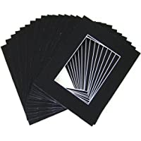 Golden State Art, Pack of 25 8x10 black Picture Mats Mattes with White Core Bevel Cut for 5x7 Photo + Backing + Bags