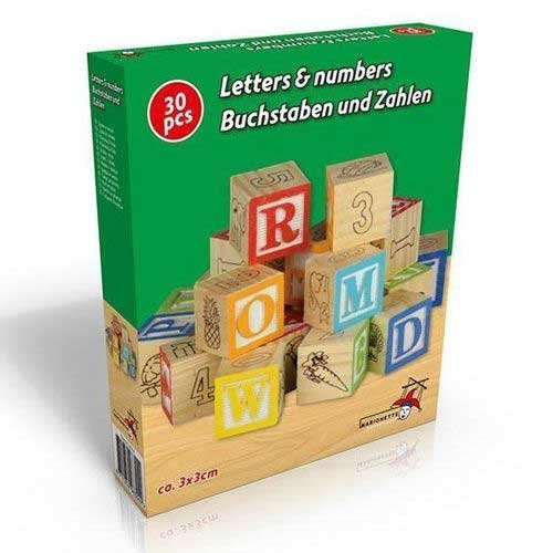 Marionette Wooden Toys Letters & Numbers Wooden Blocks