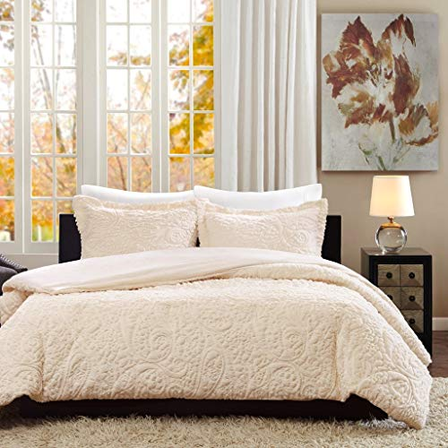 B-L-D Luxurious King Polyester Contemporary 3 Piece Comforter Set - Ivory All Season 104x90 Bedding - Decorative - Comfortable - Deluxe - Rich - Elegant - Sleep Restoration Bed Cover