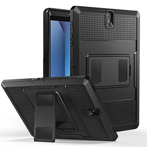 MoKo Galaxy Tab S3 9.7 Case - [Heavy Duty] Shockproof Defender Full Body Rugged Hybrid Cover with Built-in Screen Protector for Samsung Galaxy Tab S3 9.7 Android 7.0 2017 Tablet (SM-T820/T825), BLACK