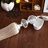 Peacewish One Pair European Crystal Curtain Hanging Ball Tie Tassel Curtain Decoration High-grade Curtain Rope (Beige)