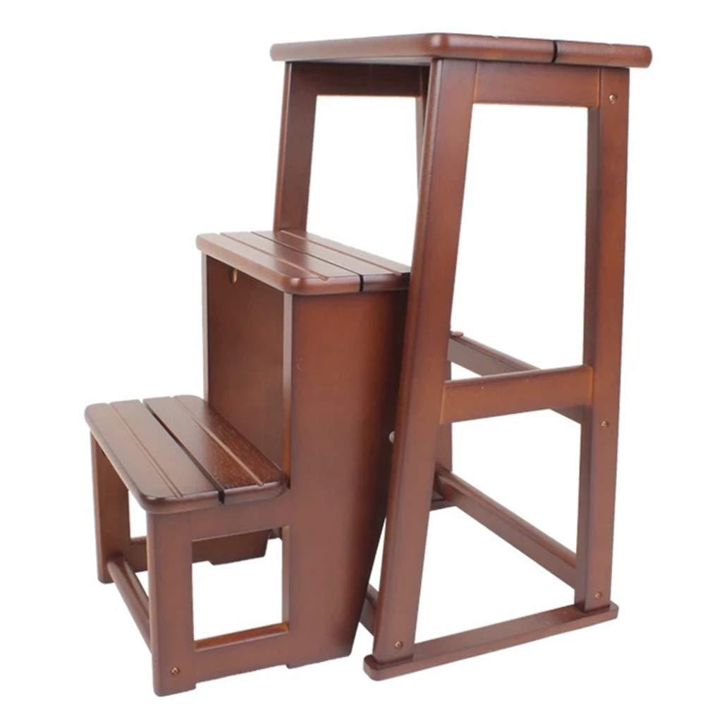 ステップスツール 階段椅子席 木製のはしご 階段 踏み台 ラバーウッド 3層ペダル 折りたたみ棚 キッチン インドアアセンド ホーム 現代の 単純な B07SBSGKK5