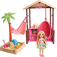 Barbie Chelsea Doll and Tiki Hut Playset with 6-inch Blonde Doll, Hut with Swing, Hammock, Moldable Sand, 4 Mo