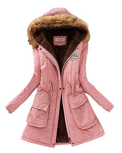 Espesar Abrigo Manga Capucha Pink Mujer Chaquetas Cálido Larga Casual Cordón Con 4InA6q