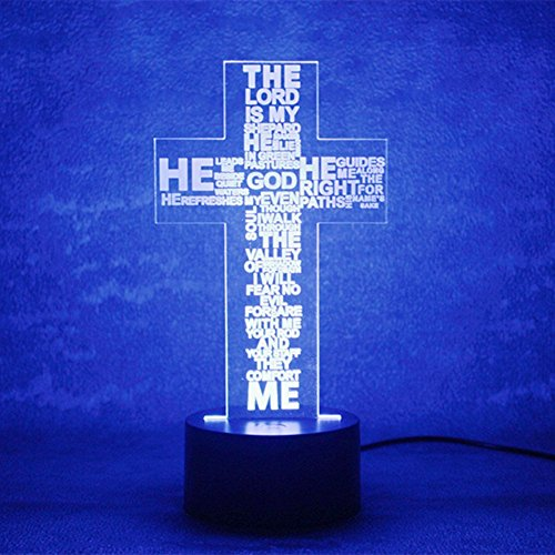 3D Illusion Jesus Cross Night Light Lamp, 7 Colors Gradual Chanding Touch Switch USB Table Desk Lamp Creative Gift or Home (Jesus Light)