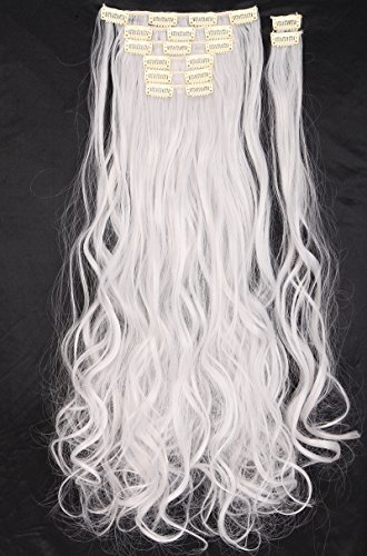 S-noilite®Fashion Design 24'' Long Curly Wavy 8 Pieces(18 Clips) Full Head Clip in Hair Extensions Silver (Wavy Clip Design)