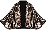 ouxiuli Women Sequins Fashional Sexy Outerwear Batwing Sleeve Blazers Golden M
