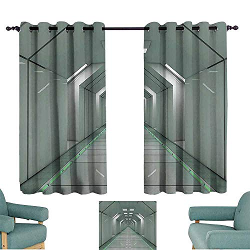 Mannwarehouse Futuristic Bedroom Balcony Living Room Curtain Sci-Fi Corridor Inside Space Station Ship Laboratory Technology Fiction Picture Art Set of Two Panels 55