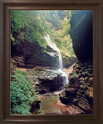 (Impact Posters Gallery New York Scenery Framed Wall Decor Watkins Glen Waterfall Nature Woods Brown Rust Art Print Picture)