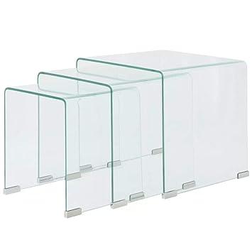 Vislone Lot De 3 Tables Basses Gigognes Verre Trempe Transparent Cafe Table