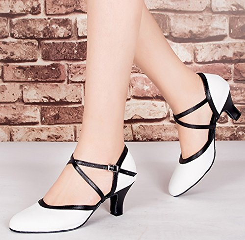Tda Mujeres Closed Toe Correa Para El Tobillo De Tacón Medio Salsa De Cuero Tango Ballroom Latin Dance Moderno Zapatos De Novia 6cm De Tacón Blanco