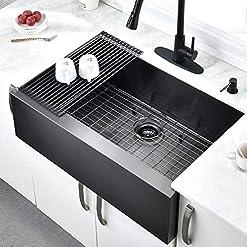 Kitchen 30 Inch Black Apron Front Farmhouse Sink – HOSINO 16 Gauge Apron Flat Front Kitchen Sink Deep Single Bowl Stainless… modern kitchen sinks