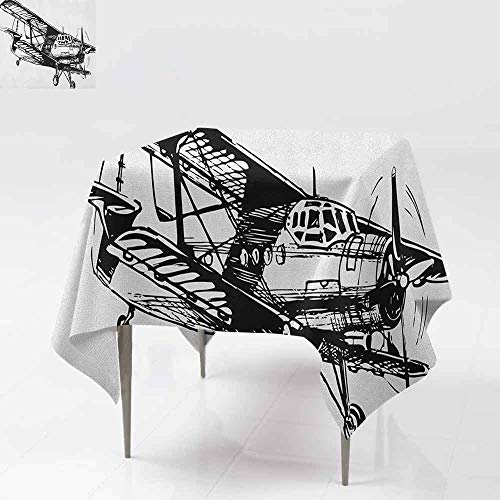 SONGDAYONE Modern Square Tablecloth Vintage Airplane Drawing of a Monoplane Sketchy Stylized Ancient Monochrome Design Leakproof Black and White W60 xL60