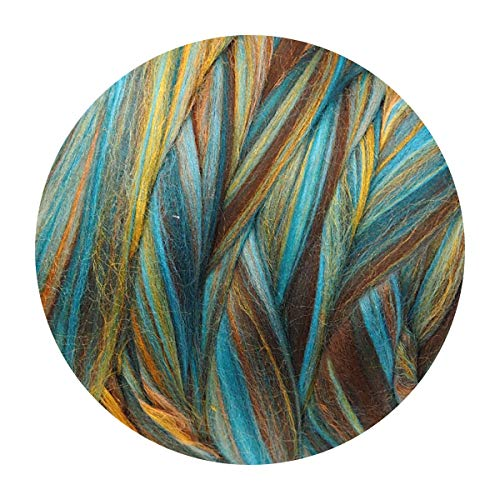Extra Fine Merino Wool Roving Tussah Silk Blends Tops Sliver, Wet Felting, Nuno Felting, Needle Felting, Spinning, Knitting, Weaving, Mixed Media, Crafts, Orange Brown Blue, 100g/3.5oz, Ocean Color ()