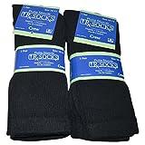 Diabetic Socks Mens Non-Binding Crew Length Black Color, Size 10-13, 6 Pairs