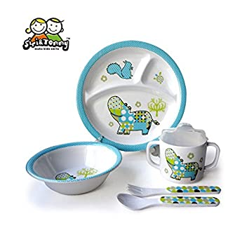 Kids 5pc Dinner Set Hippo Designer Melamine Dishes 3-compartment Plate Bowl Sippy Cup Utensils  sc 1 st  Amazon.com & Amazon.com : Kids 5pc Dinner Set Hippo Designer Melamine Dishes 3 ...