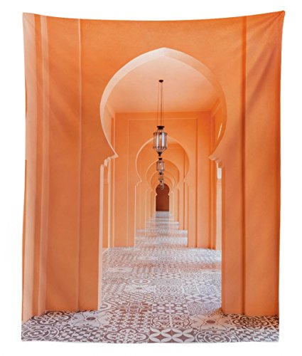 (Lunarable Arabian Tapestry Twin Size, Moroccan Walkway with Asian Motifs and Arabic Artsy Elements Visual Oriental Photo, Wall Hanging Bedspread Bed Cover Wall Decor, 68 W X 88 L inches,)
