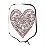 YOLIYANA Henna Durable Racket Cover,Paisley Doodle in Heart Shapes Little Blossoms Swirls Curves Hippie Sixties Influence for Sandbeach,One Size